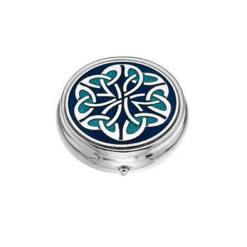 Large Pill Box Silver Plated Celtic Trinity Kells Blue Brand New & Boxed